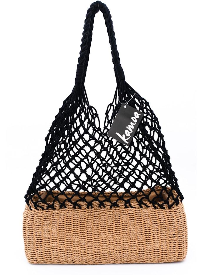 kamoa - Trendige leichte und stabile Netztasche aus Naturmaterialen  SCHWARZ