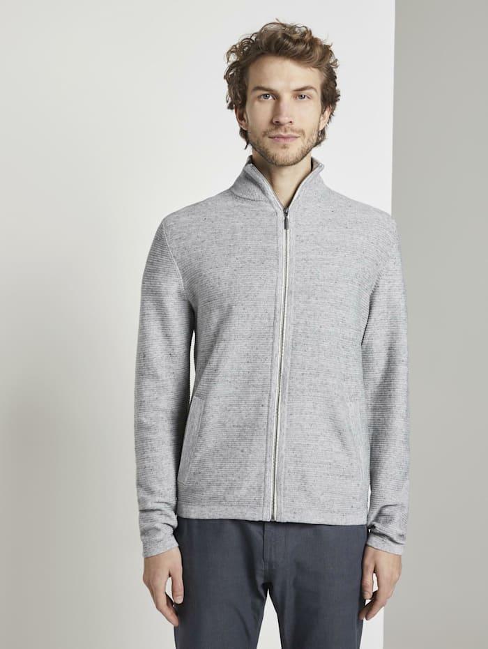 tom tailor - Strukturierter Cardigan  off white grey heather melange