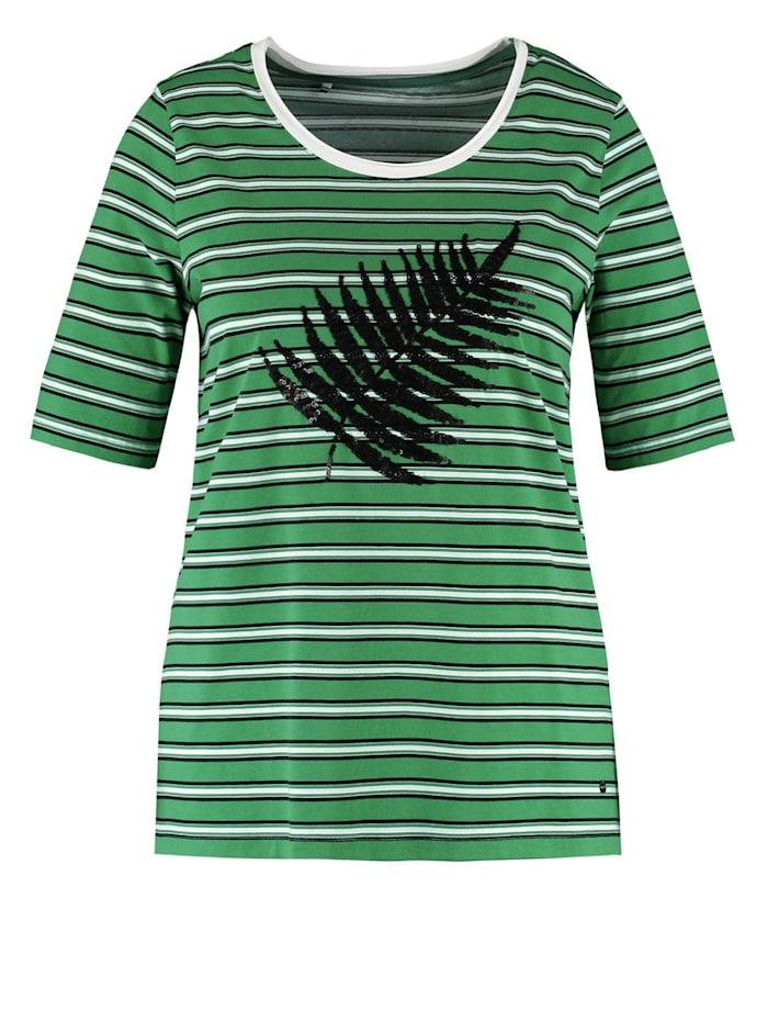 samoon - T-Shirt mit Pailletten-Dekor organic cotton  Leaves Green/Offwhite Ringel