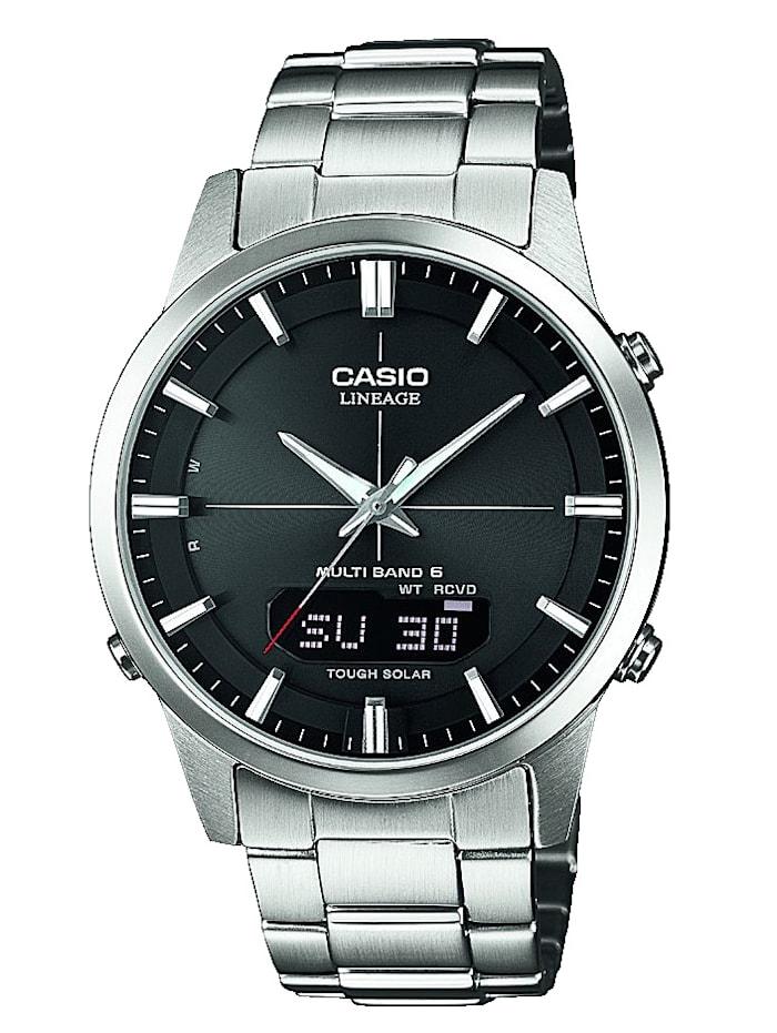Artikel klicken und genauer betrachten! - Ein optimaler Weggefährte ist Funk-Solaruhr von Casio wird Ihrem Handgelenk sicher schmeicheln. Ein wahres Multi-Talent ist Funk-Solaruhr denn verfügt über eine Weltzeitfunktion, ein Tagesalarm, eine Ladekontrollanzeige und ein Neo-Display. Hat ein weißes Gliederarmband aus Edelstahl mit Sicherheitsschließe. Das runde, weiße Gehäuse dieser eleganten Uhr wurde aus Edelstahl angefertigt und hat einen Durchmesser von 39 mm. | im Online Shop kaufen