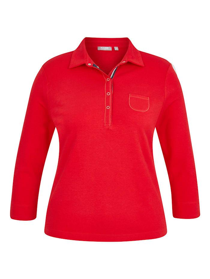 rabe - Poloshirt mit Brusttasche und 7/8-Ärmeln  KARMIN