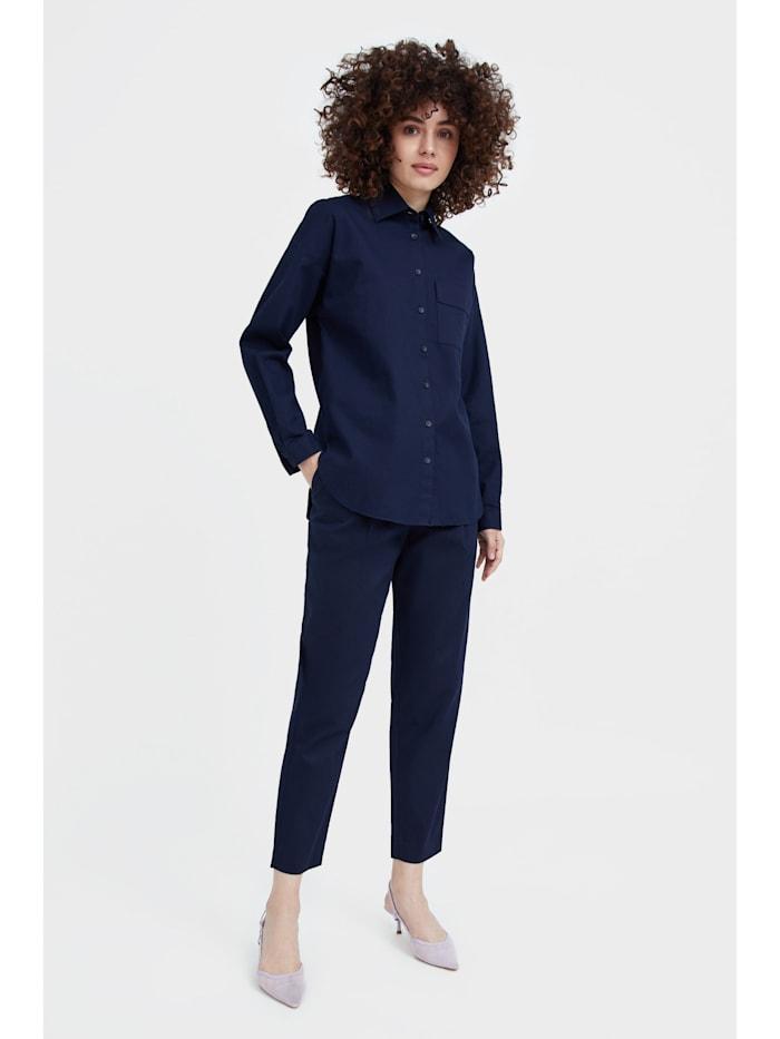 finn flare - Stoffhose mit geradem Bein  dark blue