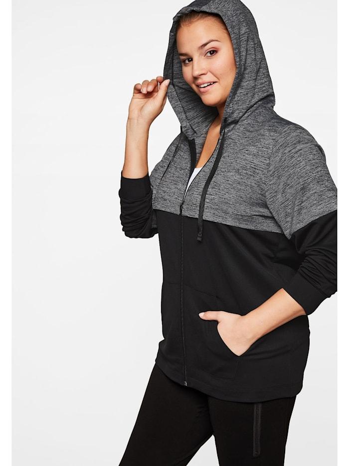sheego -  Trainingsjacke  schwarz-grau meliert