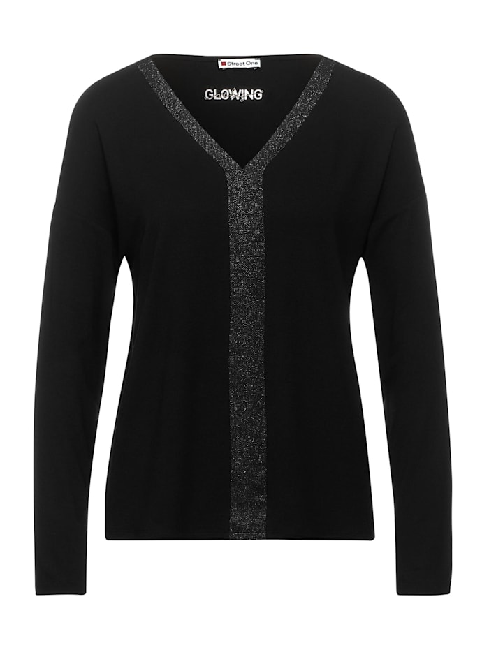 street one - Shirt mit Glitzer-Details  Black