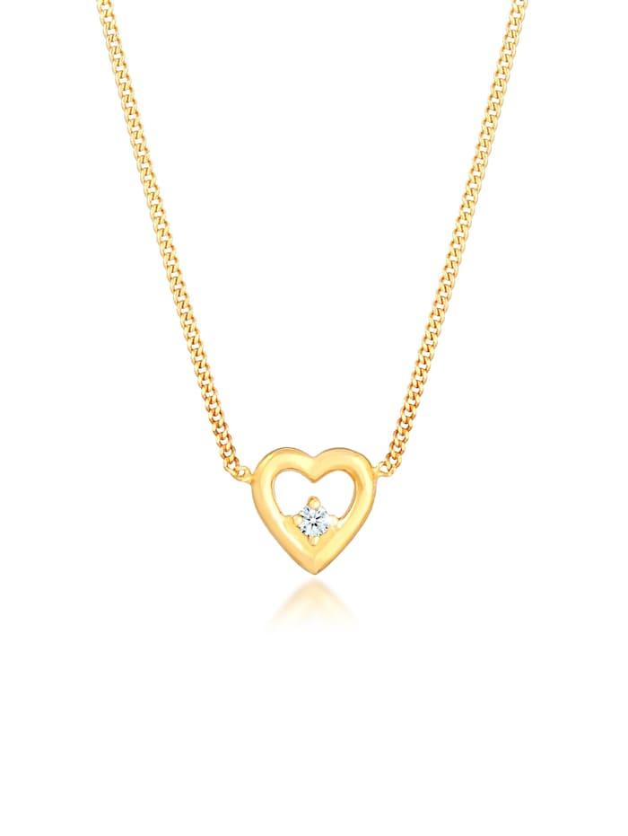 diamore - Halskette Herz Liebe Love Diamant (0.03 Ct.) 925 Silber  Gold