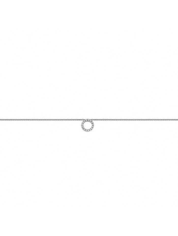one element - Damen Schmuck Halskette Kreis aus 925 Silber Zirkonia 45 cm  silber