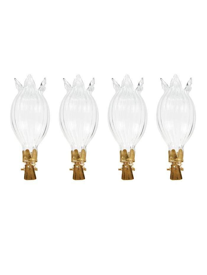 Vasen-Set, 4-tlg., Impressionen klar/gold