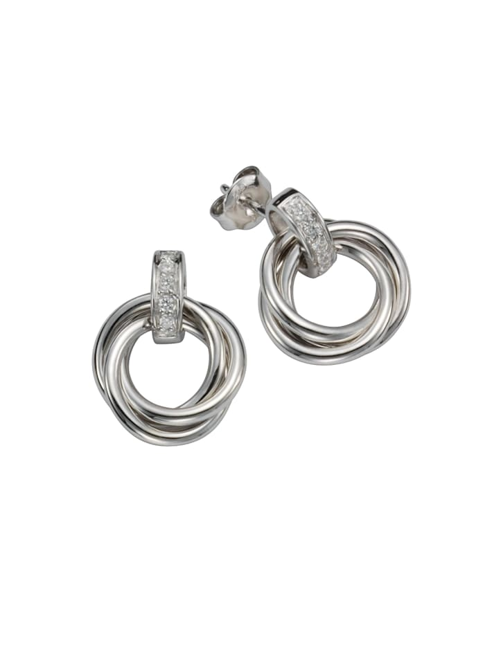 celesta - Ohrstecker 925/- Sterling Silber Zirkonia 925/- Sterling Silber Zirkonia weiß 2,0cm Rhodiniert 0,03  Silbergrau