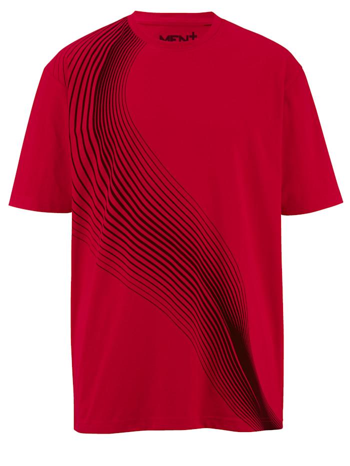 T-shirt Men Plus Rood::Zwart