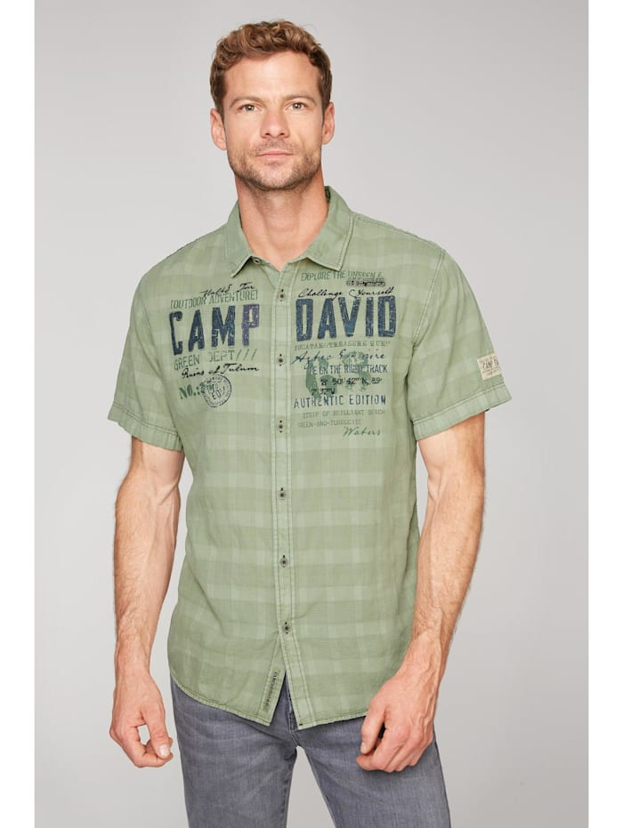 camp david - Hemd mit toniger Karo-Struktur und Artwork  treasure green