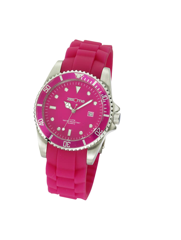 zeeme - Uhr pink Silikon Datumsanzeige 5,2cm Edelstahl analog Mechanisch Mineralglas  pink