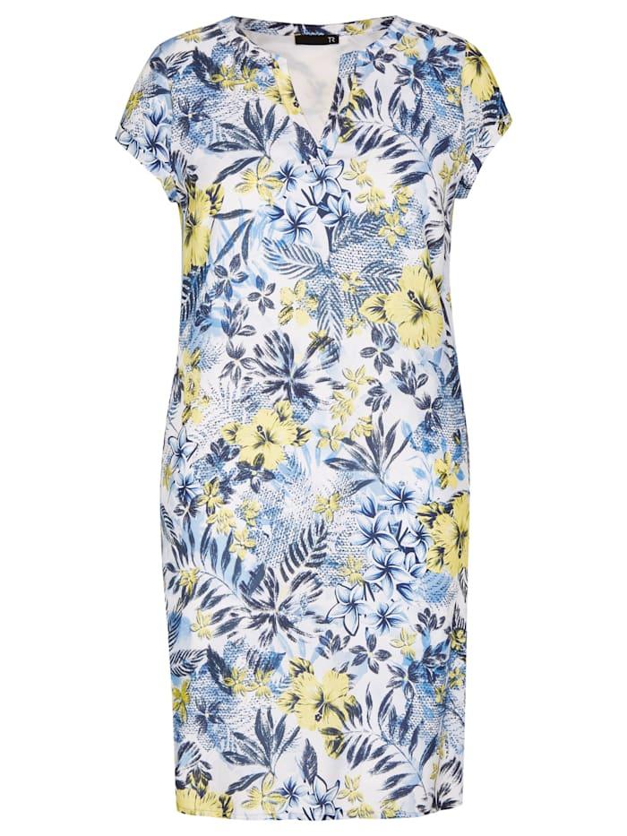 thomas rabe - Kleid mit Allover-Print und Kappärmeln  RAUCHBLAU