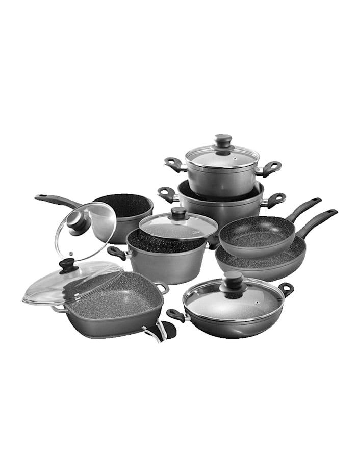 8-delige pannenset Stoneline grijs/zwart