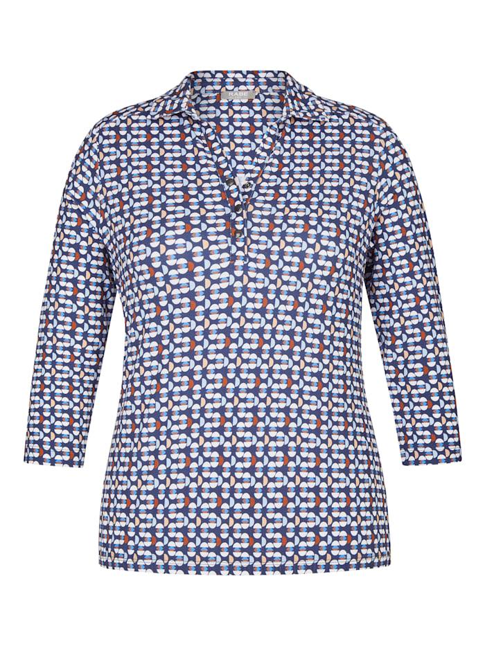 rabe - Poloshirt mit geometrischem Muster und V-Ausschnitt  MARINE