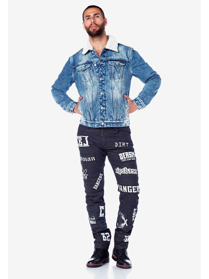 cipo & baxx - Jeans mit stylishen Schriftzügen  Black