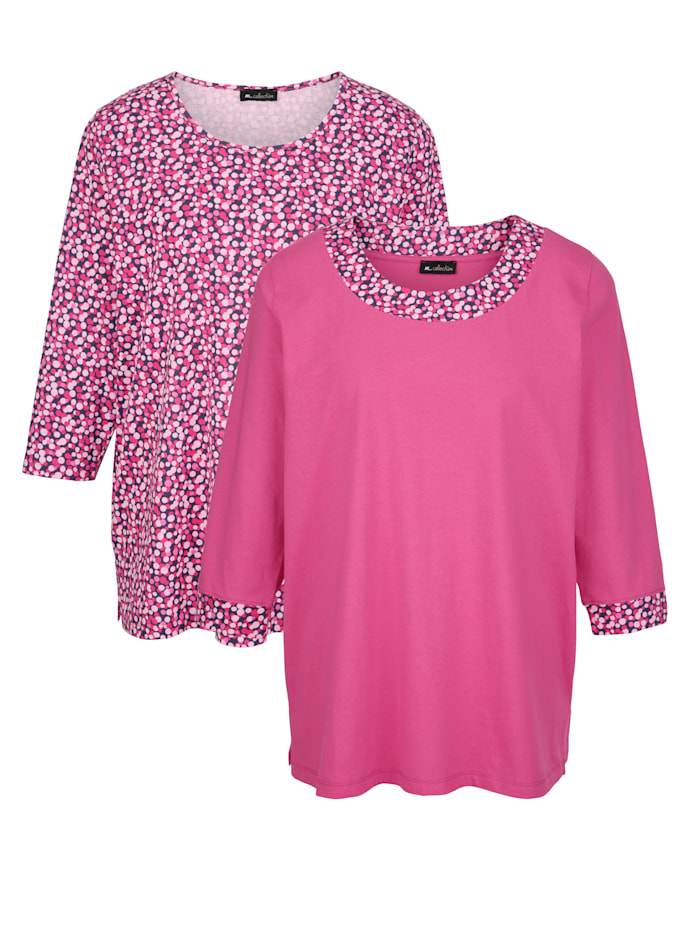 Doppelpack Shirts m. collection Pink Weiß