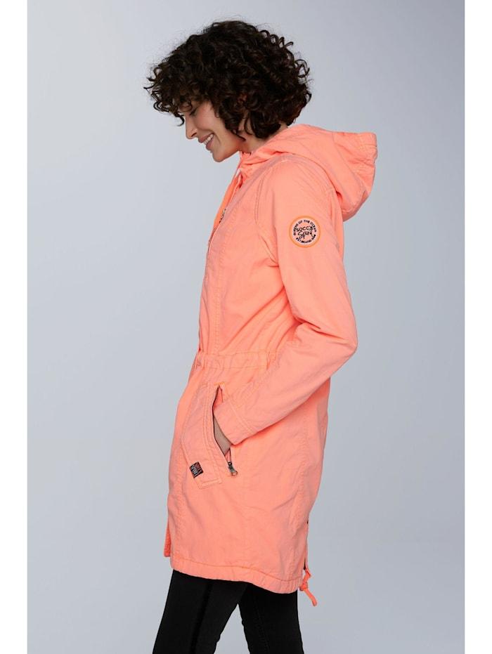 soccx - Leichter Parka mit Kapuze und Taillenband  neon orange
