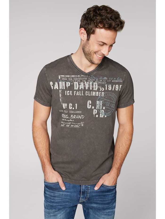 camp david - T-Shirt mit V-Neck und Used-Optik  stone brown