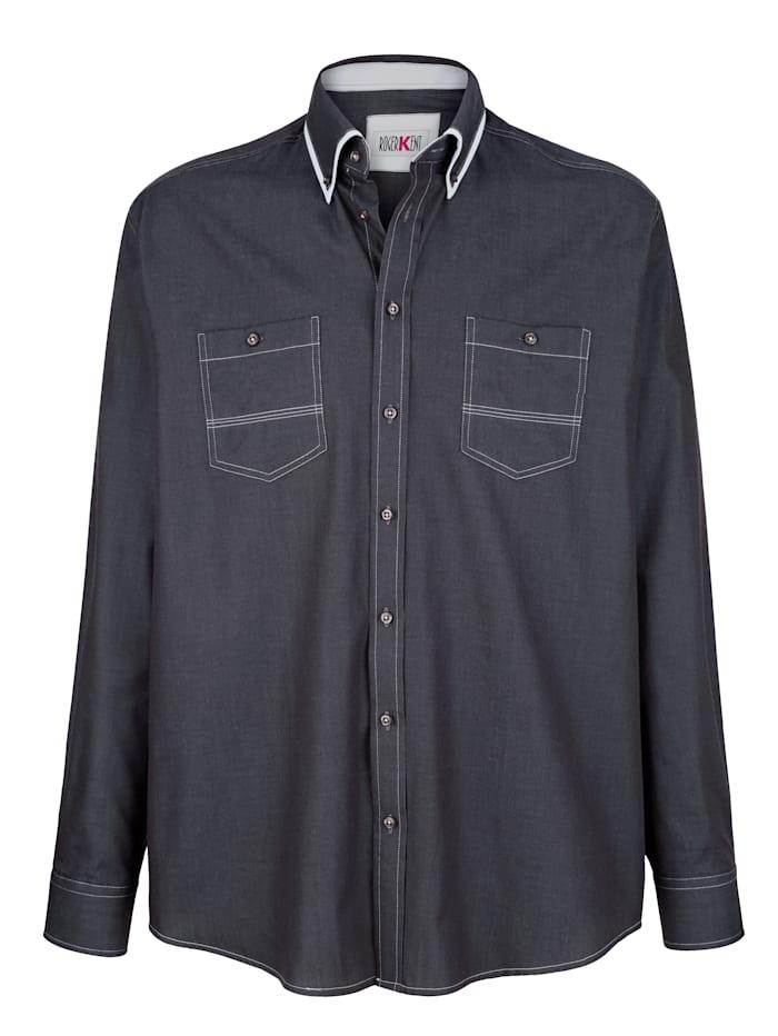 Overhemd Roger Kent Grijs::Wit