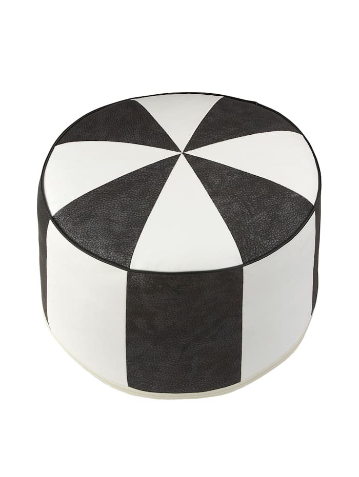 Sitzkissen Kunstleder schwarz/weiß Ø 50/34 cm Linke Licardo schwarz/weiß