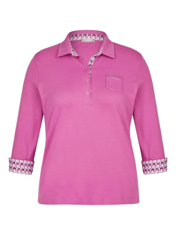 rabe - Shirt mit unifarbenem Stoff und Polo-Kragen  MALVE