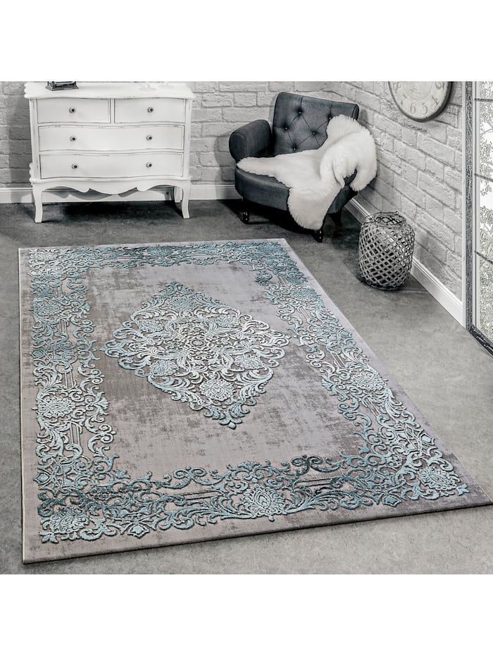 Designer Teppich Modern Wohnzimmer Teppiche 3D Barock Muster In Grau Beige Creme Paco Home Grau-Blau