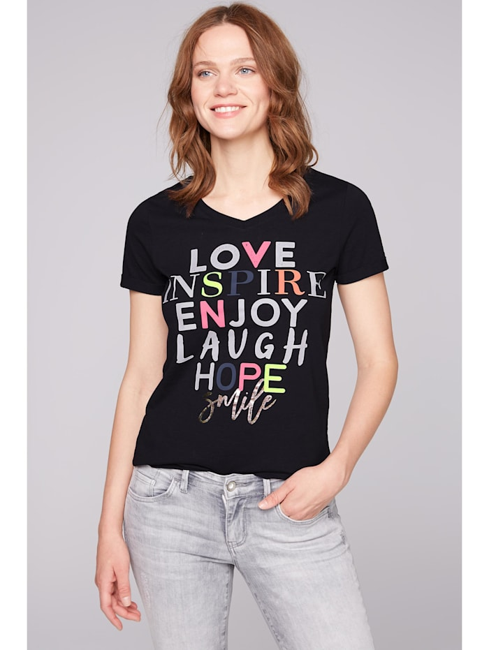 soccx - T-Shirt mit buntem Schriftzug  berry blue