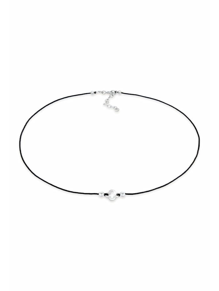 elli - Halskette Choker Nylon Kleeblatt Glück Bead 925 Silber  Silber