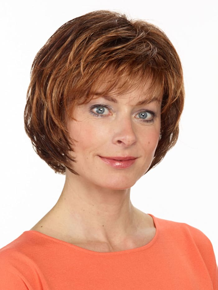 Pruik 'Michelle' Lofty middenbruin/goudblonde highlights