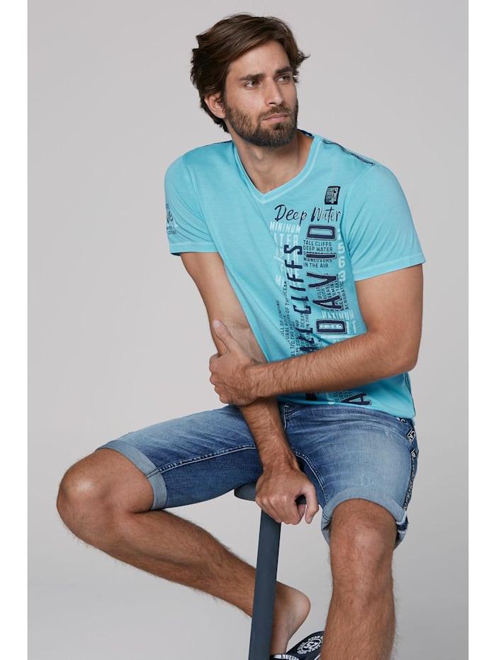 camp david - T-Shirt mit V-Neck, Prints und Stickereien  fresh aqua