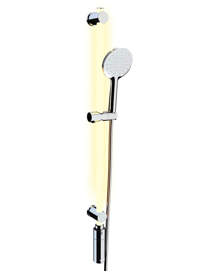 Image of Dimmbares LED-Duschstangen-Set 94 cm, inkl. Handbrause & Duschschlauch, 11 Farben & warmweiß, abnehmbare Akku-Einheit, Fernbedienung, Bewegungsmelder Wenko weiß
