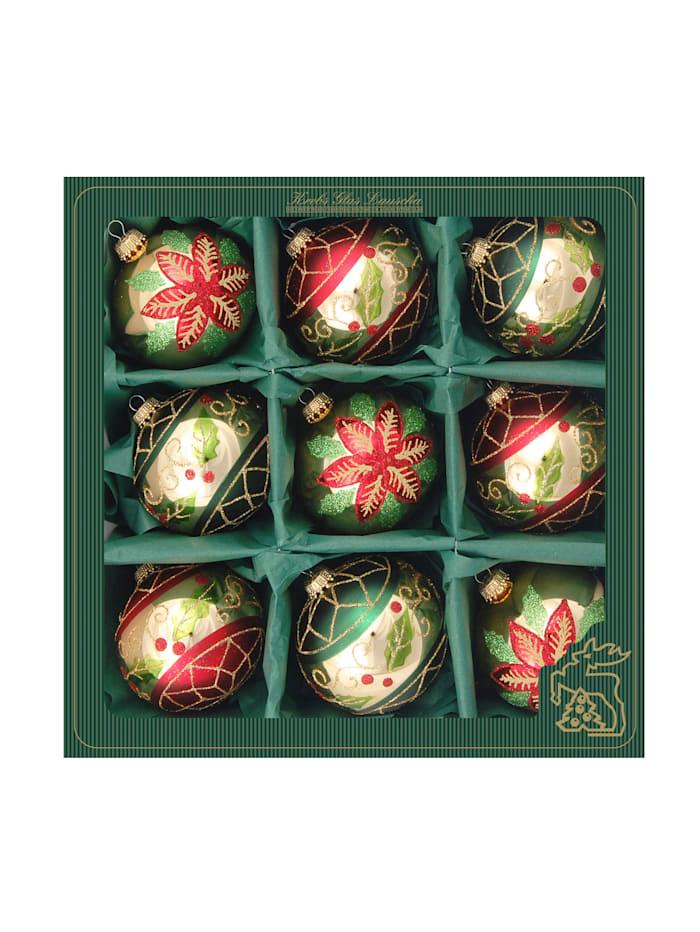 Weihnachtskugel-Set 'Ilex' Krebs Glas Lauscha Rot/Gold/Grün