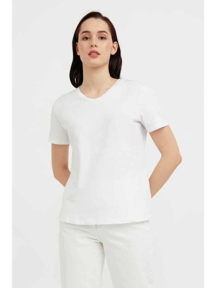 finn flare - Basic Shirt mit V-Ausschnitt  white