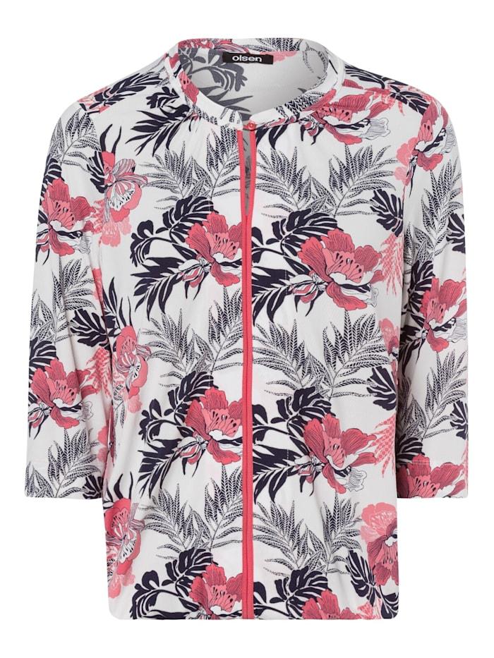 3/4-Arm-Shirt mit exotischen Blumen Olsen Coral