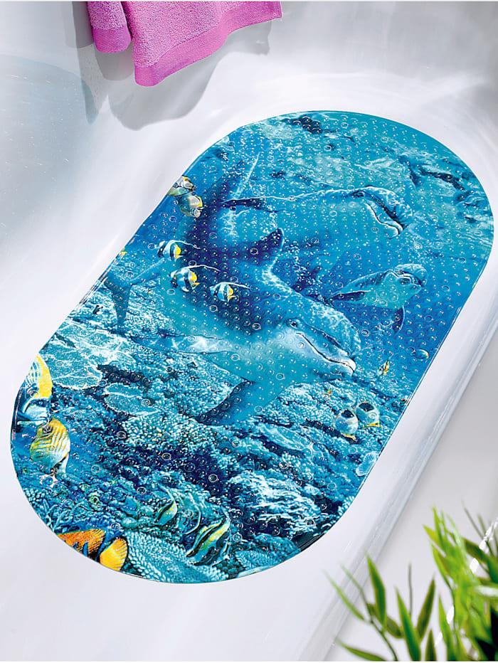 Image of Badewannen-Einlage 'Delphin Maritim' TRI blau