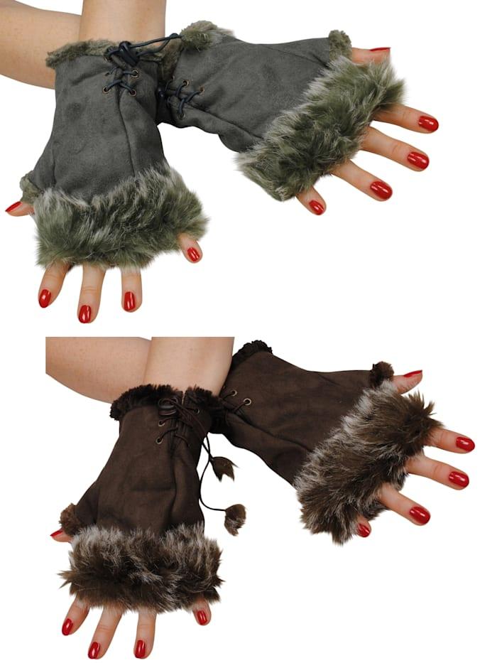 simone erto - Stulpen 2 Paar Hand-Stulpen 2 Paar kuschelige Handstulpen in Wildleder-Optik  khaki/dunkelbraun