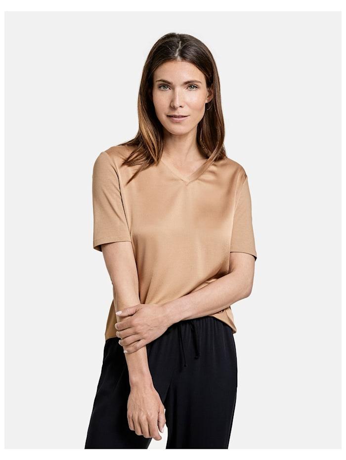 gerry weber - Shirt mit V-Ausschnitt EcoVero  Sahara