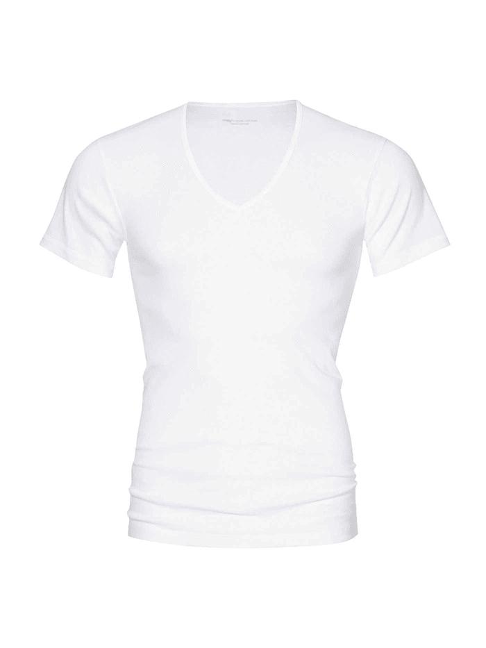 mey - T-Shirt mit V-Neck und funktionalem Rücken  White