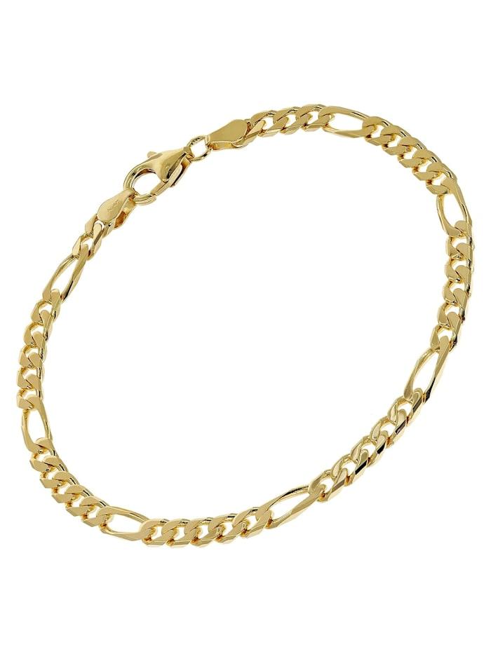 trendor - Armband Gold auf Silber 925 Figaro Breite 4,3 mm  Goldfarben