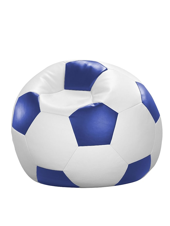 Fussball Sitzsack Sitzkissen Chillkissen Kunstleder Ø 90 cm Linke Licardo blau/weiß