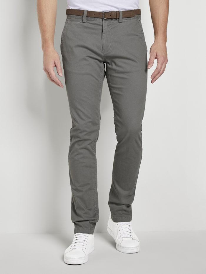 tom tailor - Gemusterte Chino Hose mit Gürtel  navy minimal tonal design