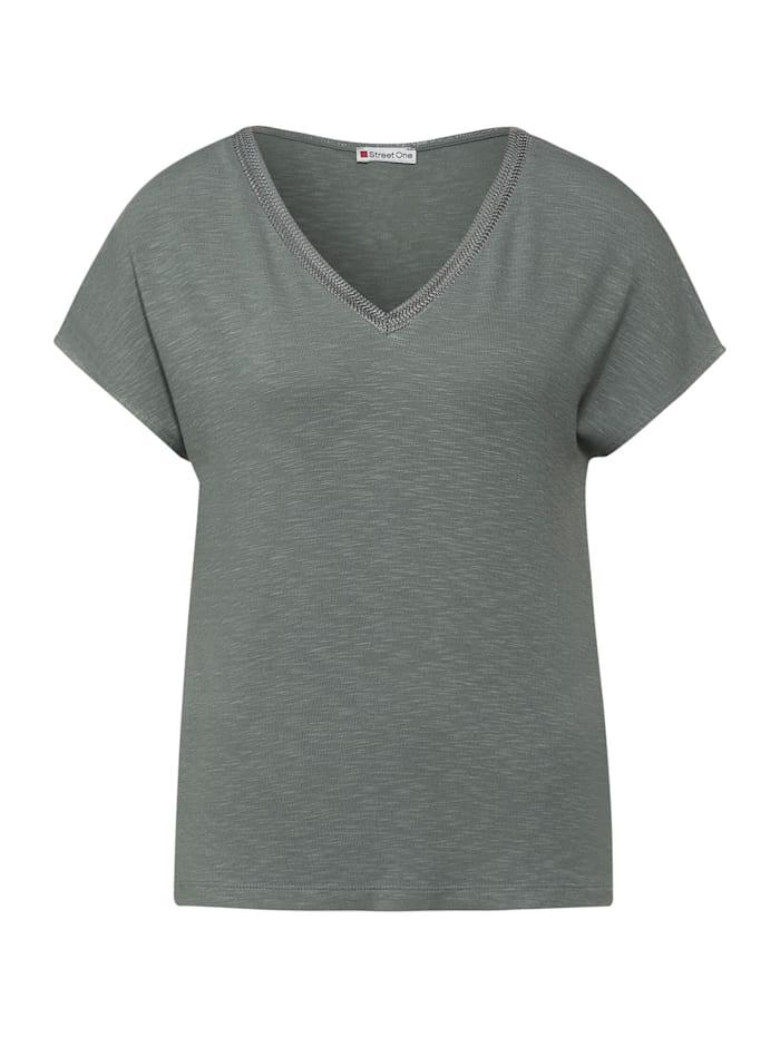 street one - T-Shirt mit Strick Detail  shadow green