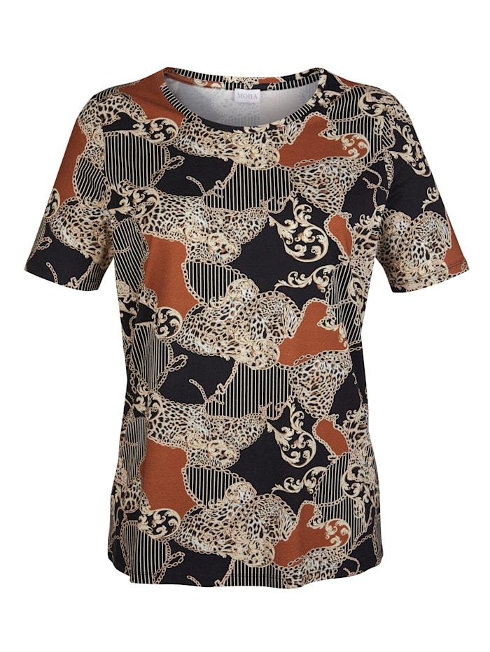 Shirt MONA Zwart::Cognac::Beige