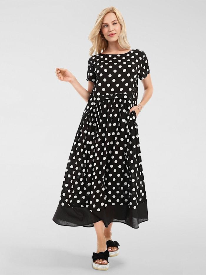 apart - Maxi-Kleid aus weicher Viskose  schwarz-creme