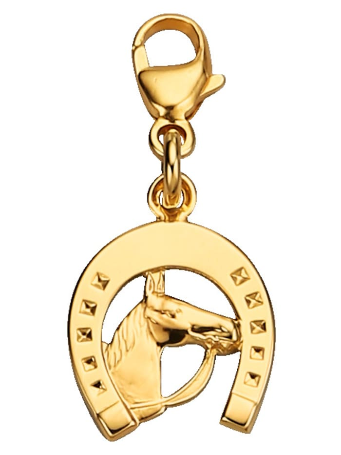 Bedel Hoefijzer met paardenhoofd WENZ Geelgoudkleur