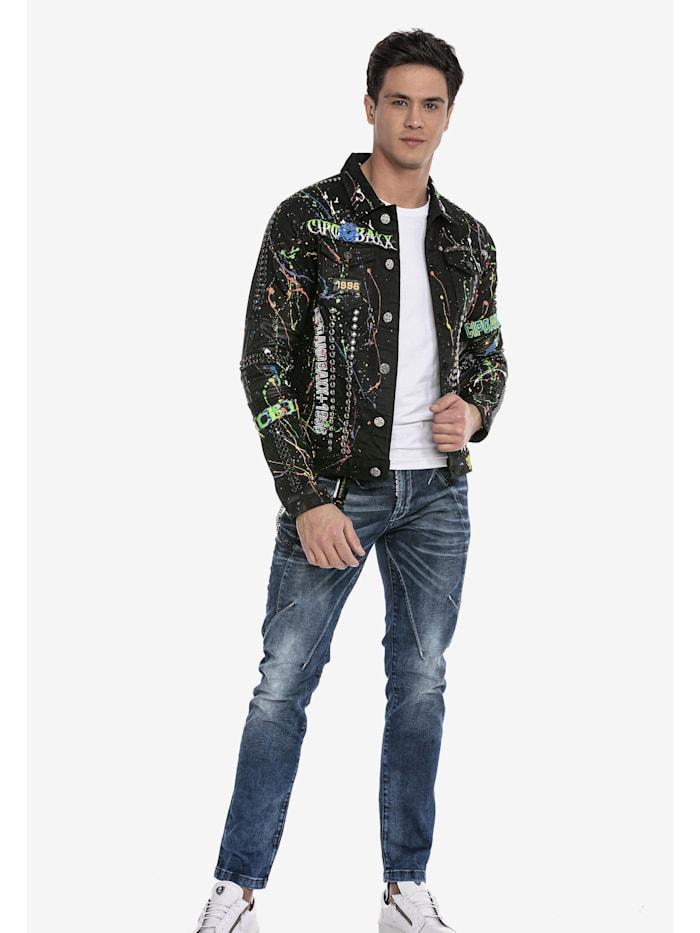cipo & baxx - Jeansjacke im modischem Designer-Look  BLACK