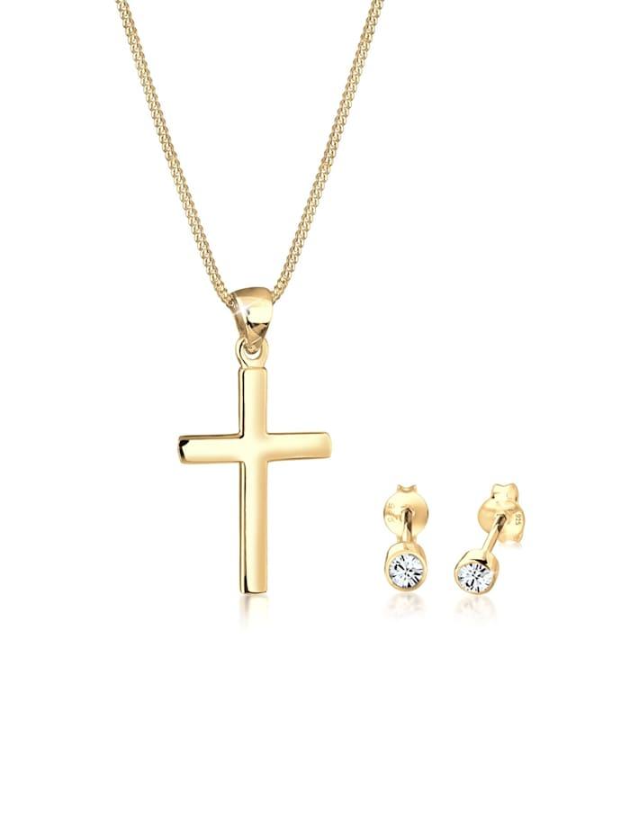 elli - Schmuckset Kette Stecker Kreuz Swarovski® Kristalle Silber  Gold