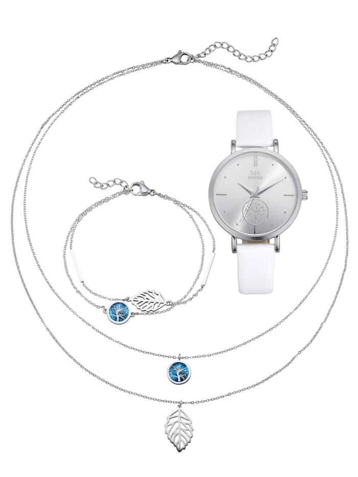 4-delige horloge- en sieradenset Meister Anker Zilverkleur
