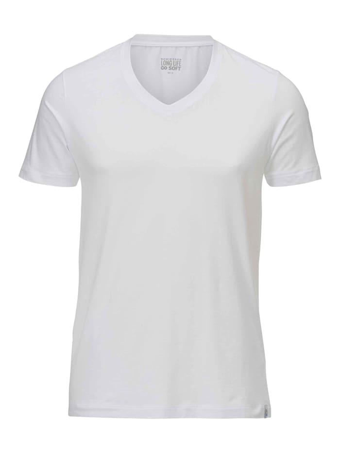 schiesser - T-Shirt, V-Ausschnitt  weiss