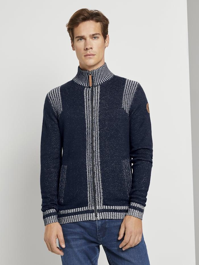tom tailor - Melierte Strickjacke mit Stehkragen  Knitted Navy